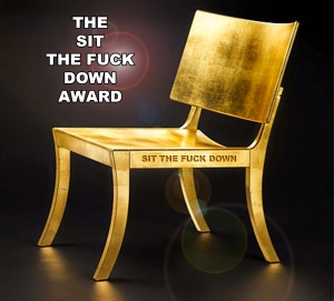 sit the fuck down award copy